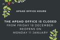 APSAD Office Hours during the Xmas period